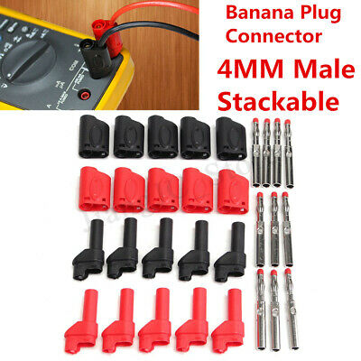 10X 4MM Red/Black Safety Banana Plug Connector Fully Insulated Male Stackable