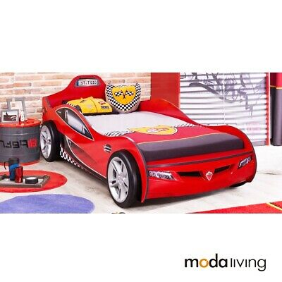New Red Cilek Kids Children Coupe Race Car Bed 3d Wheels Single Bed