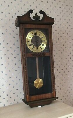 pendulum wall clock wooden, Spares or Repair.  Relisted due to non payer