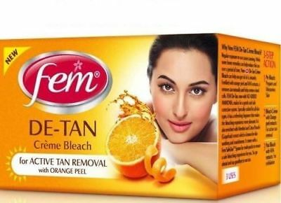 Brand New Fem De-Tan Creme Bleach For Active Tan Removal With Orange Peel 30 Gm