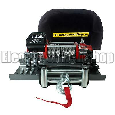 Stealth V2 13000lb 12v Winch with Steel Rope, Mounting Plate & EWS Cover