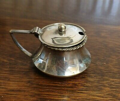 antique silver plate TABLE SALT mustard pot