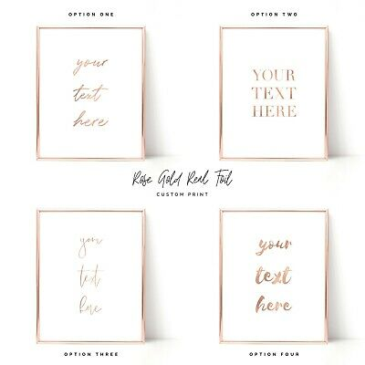 Rose Gold Foil Print Custom Quote Prints Personalised Wall Art A3 Word Poster