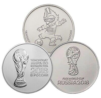 Russia 25 Ruble Set 3 Coins 2016 2017 2018 World Cup Football (Soccer) Comm. Unc