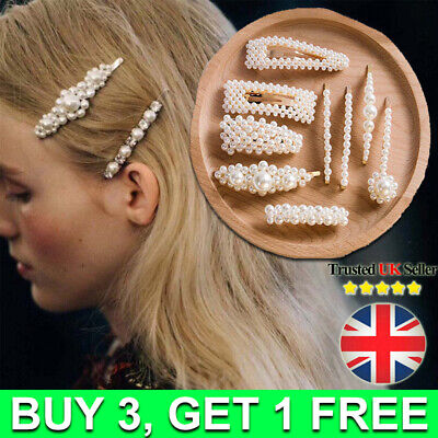 Women Girl Pearl Hair Clip Gold Silver Hairpin Slide Barrette Hair Accessories