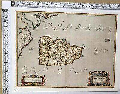 HISTORIC ANTIQUE VINTAGE Old Map of Isle of Arran, Scotland 1600's: REPRINT
