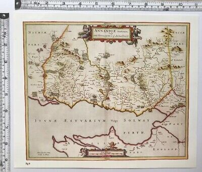 Historic Antique vintage Old Map of Lower Annandale, Scotland 1600's: REPRINT