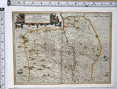 Historic Antique vintage Old Map of Lower Clydesdale, Scotland 1600's: REPRINT