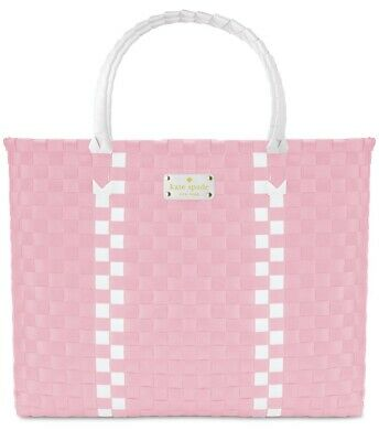 KATE SPADE New York pink white large woven handbag shopper beach tote purse bag