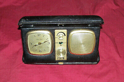Vintage Elgin Travel Alarm Clock with AM Radio Old Suitcase Windup Desk Bedside