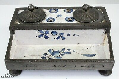 17th / 18th Century Pewter & Painted Blue / White Delft Inkstand / Inkwell