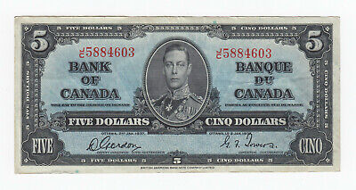 1937 Bank of Canada $5 Banknote - S/N: J/C5884603 Gordon - Towers Signatures