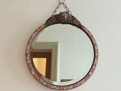 Vintage Pink Barbola Wall Mirror Round Art Deco 1930s Bevelled Chain 30cm m112