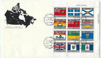 CANADA - #832a - PROVINCIAL & TERRITORIAL FLAGS UR FULL PANE FIRST DAY COVER FDC