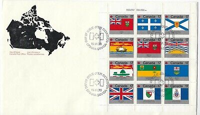 CANADA - #832a - PROVINCIAL & TERRITORIAL FLAGS UL FULL PANE FIRST DAY COVER FDC