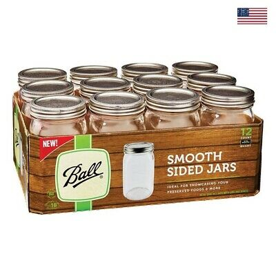 Ball Wide Mouth Quart Canning Mason Jars, Smooth Sided Jam Jelly Jar 32Oz 12-Pkg