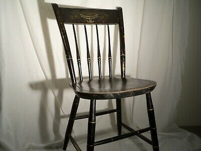 Vintage Paint Decorated Nichols and Stone Windsor Chair, Gold Black Hitchcock