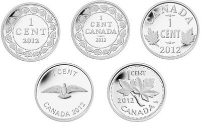 2012 Canada 1c Farewell to the Penny Pure Silver Limited Edition 5 Coin Set