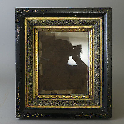 Antique Carved Wood Shadow Box Frame Gilt Marbled Victorian Eastlake Deep Incise