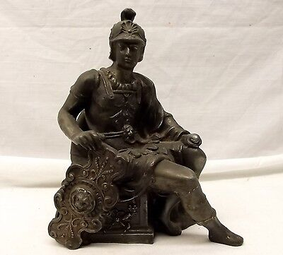 Antique Art Deco Roman Soldier Cast Metal Spelter Stature Clock Base Figure Vtg