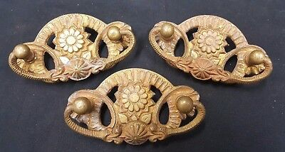 Architectural Salvage Brass Daisy & Tulip Design Drawer Pull Handles Set of 3