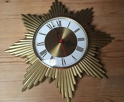 Vintage German Splendex (Metamec Style) Sunburst Starburst Quartz Wall Clock