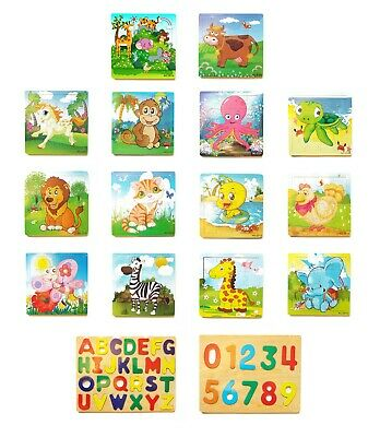 Wooden Jigsaw Puzzles Early Learning Baby Kids Educational Toys UK