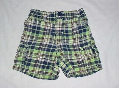 EUC Baby GAP Outlet Boys Green Navy Blue Brown & Ivory Plaid Shorts 6-12 M