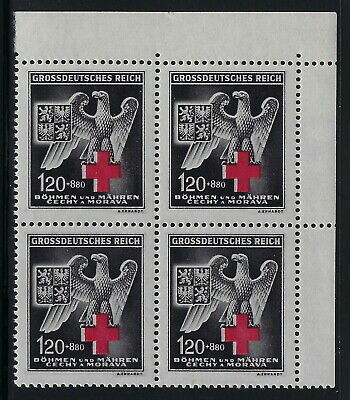 Bohemia & Moravia WWII Occupation 1943 German Red Cross Block of Four VF MNH!