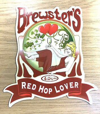 Red Hop Lover Ale Beer Pump Clip Brewsters Brewery Lincs Two Red Hearts