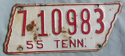 Vintage 1955 TENNESSEE State Shape License Plate Madison Co TN [7-10983 55 TENN]