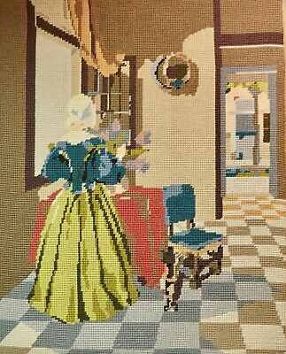 "Large Vtg Penelope Needlepoint Completed Dutch Lady Interior 22"" High on Board"