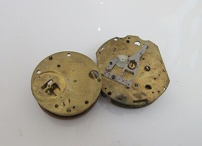 2 x Vintage brass Clock movements  for parts or steampunk only cogs wheels