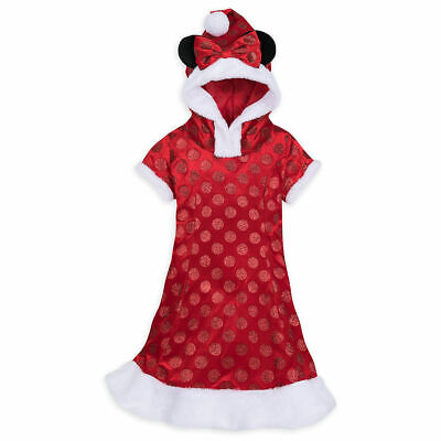New Disney Parks Girls Hooded Red Glitter Polka Dot Minnie Mouse Holiday Dress