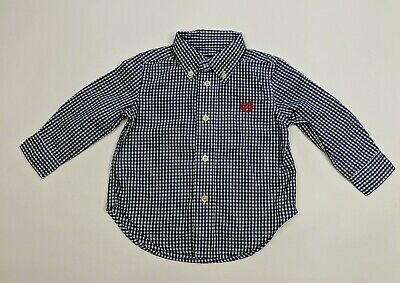 CHAPS Long Sleeve Button Down 12 month Baby Boy Navy White EUC Easter Shirt