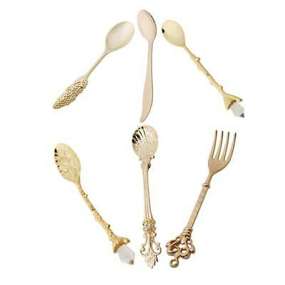 Vintage/Retro Luxury Unusual Pattern Alloy Soup Cakes Coffee Spoons 6A