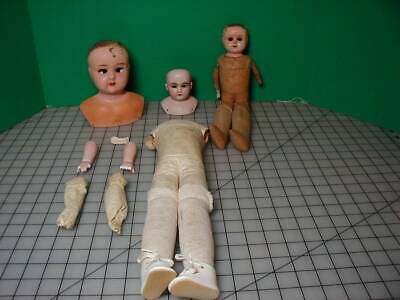 Antique Lot German Doll Head and Body Lot Bisque Tin Leather TLC