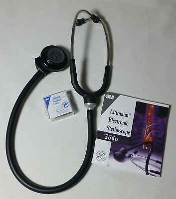 3M Littmann 2000 Electronic Stethoscope Black Excellent Working w Extra Eartips