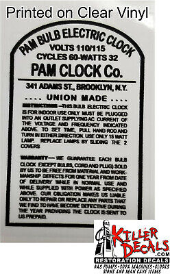Pam Clock Parts - Back Tomb Stone Label Clear Sticker With Black Letters (Pam-6)