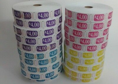 Custom Denomination $ 4 rolls - 5 Rolls of 2,000 Tickets - 10,000 Total Tickets