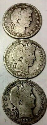 LOT OF (3) - 1899 (P/O/S) - BARBER HALF DOLLARS - Low Mintage - 90% Silver
