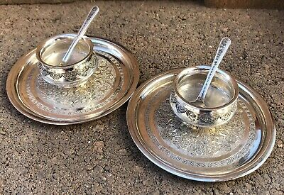 2 Pair Antique Imperial Russian Federation 84 Silver Etched Salt Cellar