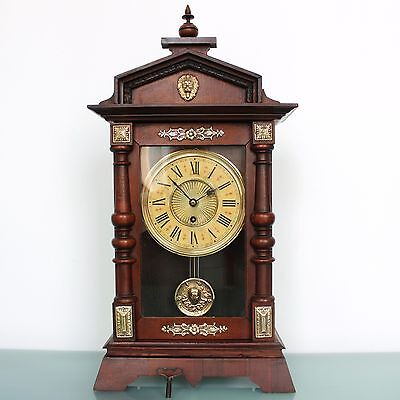 Antique German JUNGHANS CLOCK Mantel LARGE TOP Condition! 1880s BRASS Features!