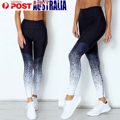 Sport Womens Compression Fitness Leggings Floral Yoga Gym Pants Workout Wear AU