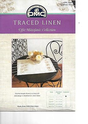 Rare Brand New DMC Traced linen Embroidery Classic Roses 3 Piece set 66 x 57 cm