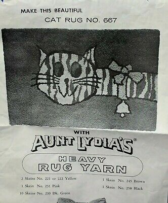 Vintage Retro Aunt Lydia's Belled Cat Punch Needle Rug Canvas Foundation Fabric