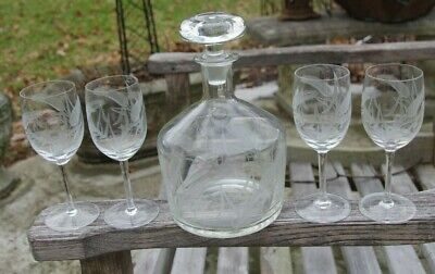 Etched Glass Decanter Wheat 4 Glasses MCM Mid Century