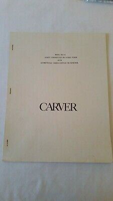 Carver Tx-11 User Instruction Owners Manual