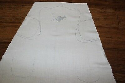 *Rare VTG Traced linen Ladies Apron Novelty Design  -Fish - to embroider and sew