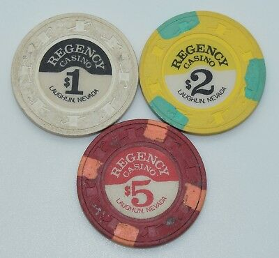 Set of 3 Regency $1-$2-$5 Casino Chips Laughlin Nevada H&C Pual-son Mold